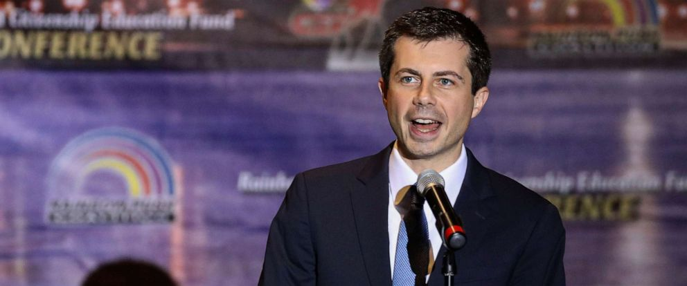 PHOTO: Democratic presidential candidate and South Bend, Ind., Mayor Pete Buttigieg addresses the Rainbow PUSH Coalition Annual International Convention in Chicago, July 2, 2019.