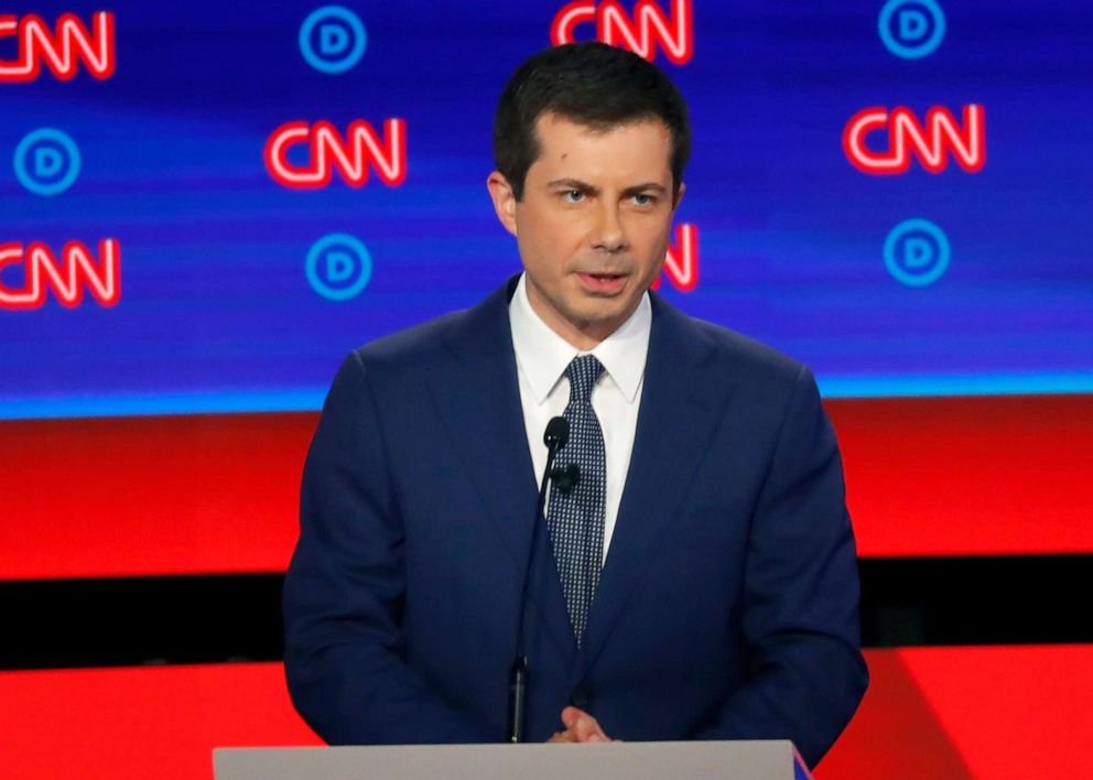 PHOTO: South Bend Mayor Pete Buttigieg participates in the first of two Democratic presidential primary debates, July 30, 2019, at the Fox Theatre in Detroit.