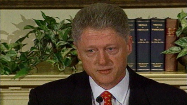 VIDEO: President Clinton denies having affiar with Monica Lewinsky.