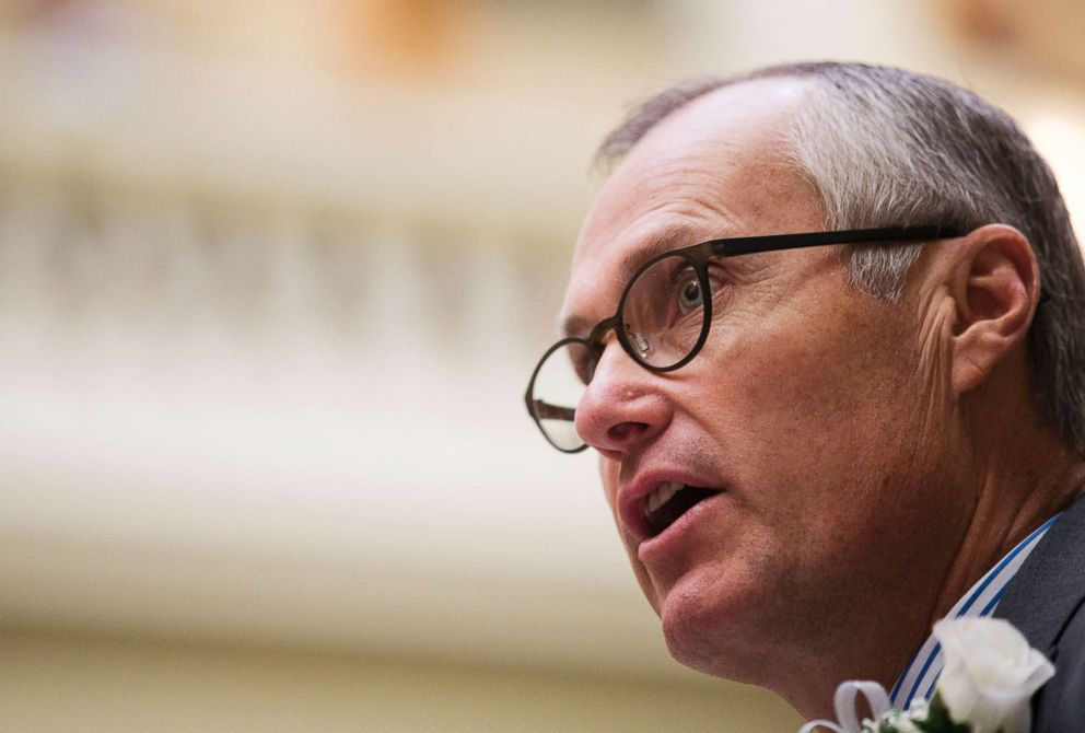 Georgia Lt. Gov. Casey Cagle speaks during a memorial ceremony on the first day of the legislative session at the state Capitol in Atlanta, Jan. 11, 2016.