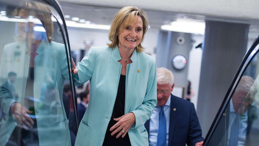 Senator Cindy Hyde-Smith heads to the Senate Policy luncheon in the Capitol, June 26, 2018.