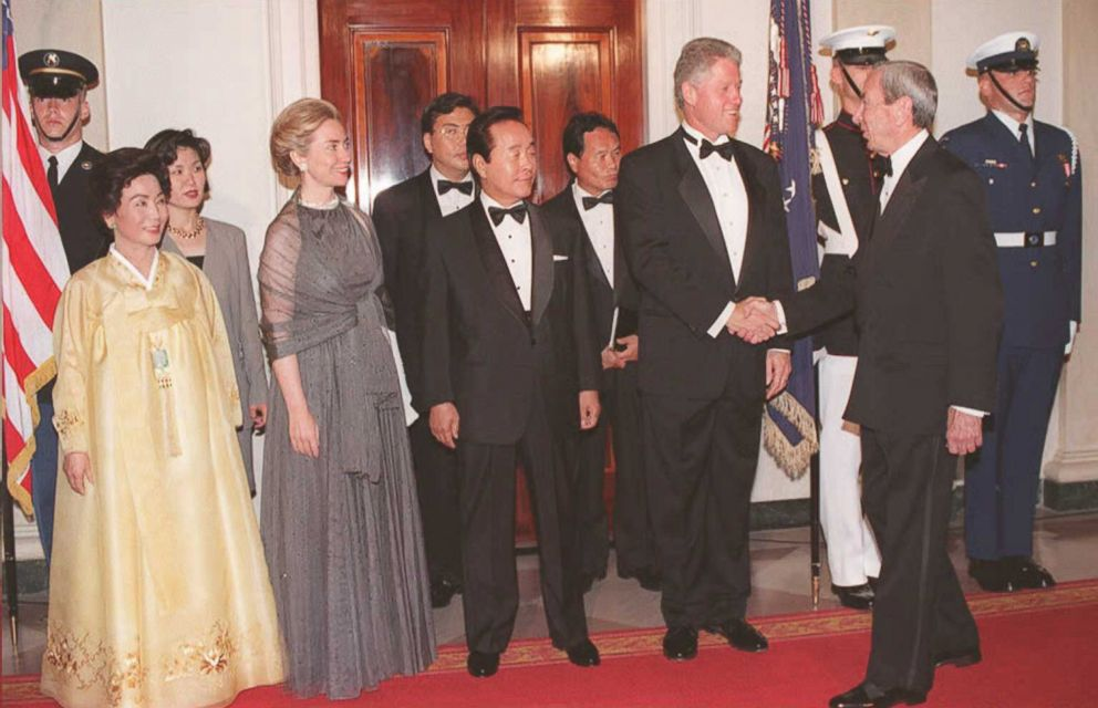 PHOTO: President Bill Clinton, accompanied by First Lady Hillary Clinton. greets Secretary of State Warren Christopher, right, on July 27, 1995, during a White House state dinner honoring South Korean President Kim Young-Sam, center, and Mrs. Kim, left.