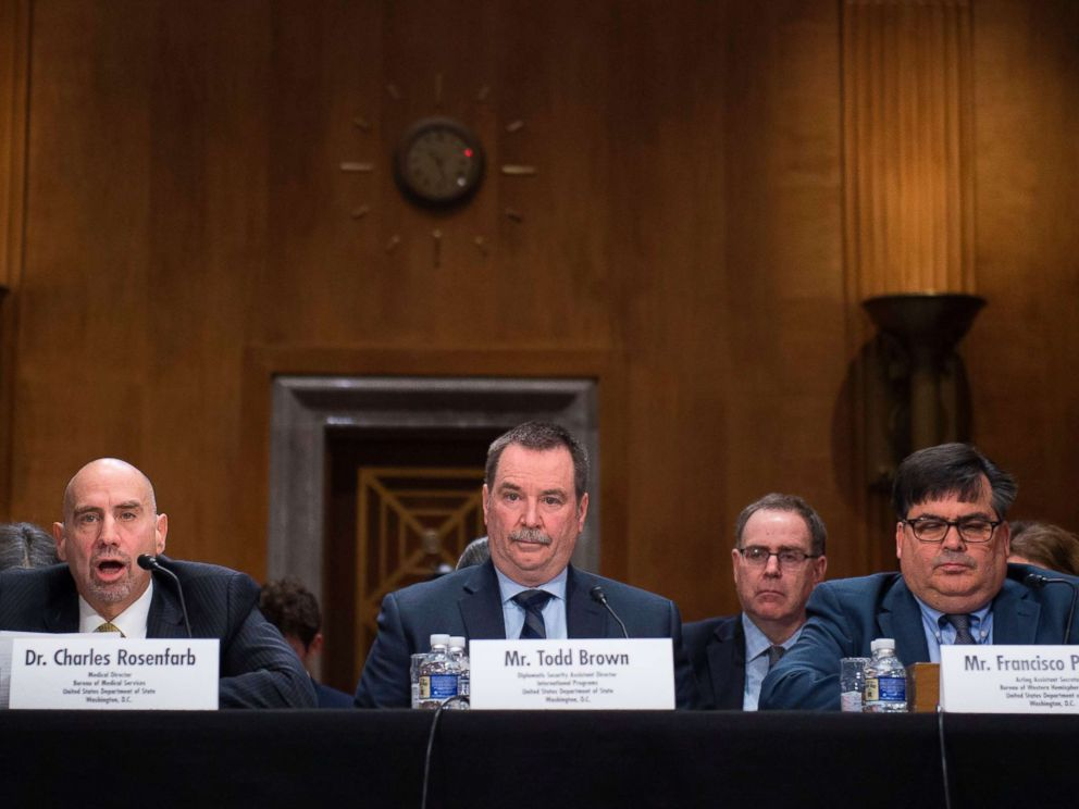 PHOTO:Left to right; Officials with the U.S. State Dept., Charles Rosenfarb, Todd Brown, and Francisco Palmieri, take part in a Senate foreign relations hearing on the attacks on US diplomats in Cuba in Washington, DC, Jan. 9, 2018.