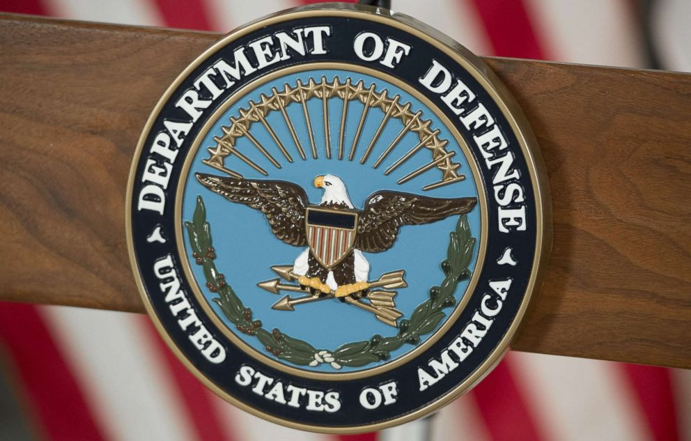 PHOTO: The seal of the US Department of Defense is seen at DAR Constitution Hall in Washington, Nov. 28, 2016.