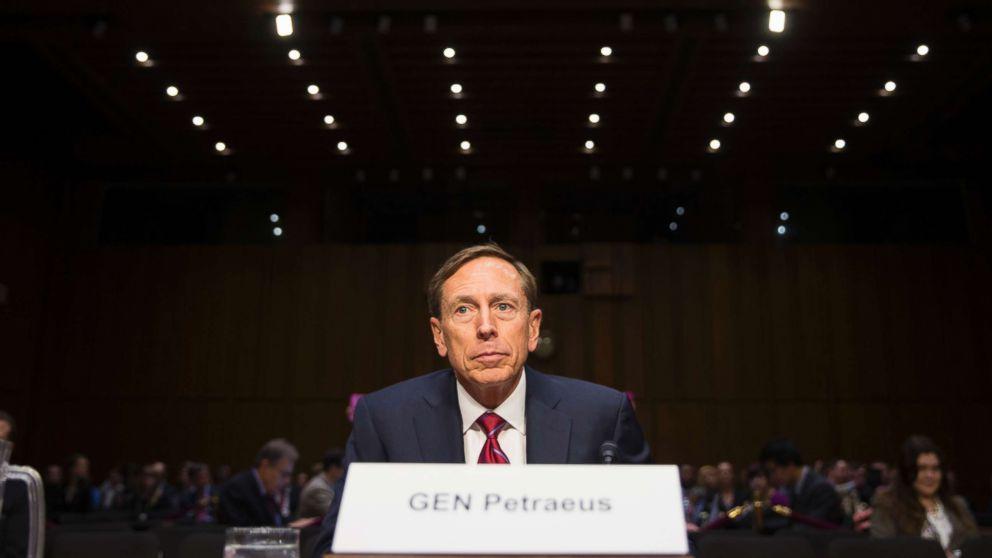 Former CIA Director David Petraeus prepares to testify on Capitol Hill in Washington, Sept. 22, 2015.