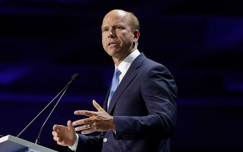 PHOTO: Democratic presidential candidate Rep. John Delaney, speaks during the 2019 California Democratic Party State Organizing Convention in San Francisco, June 2, 2019.