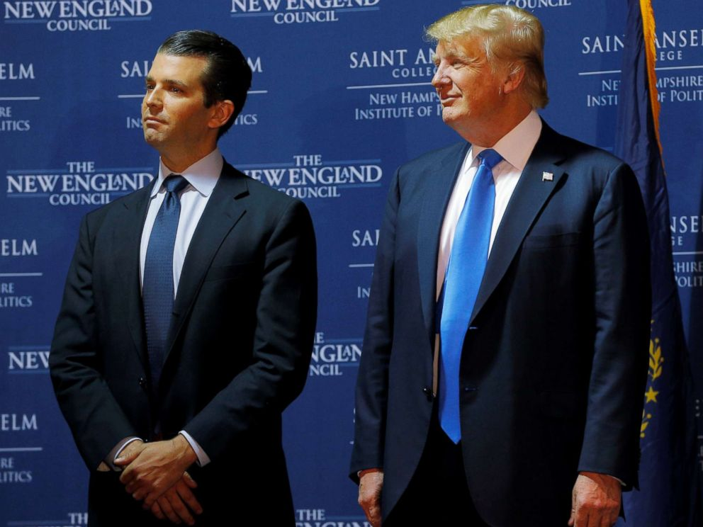 PHOTO: Republican presidential candidate Donald Trump with his son Donald Trump Jr. during a campaign event in Manchester, New Hampshire on Nov. 11, 2015.