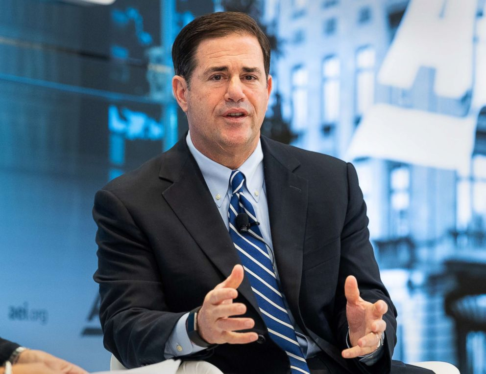 PHOTO: Arizona Governor Doug Ducey speaks at an event at the American Enterprise Institute in Washington, D.C., June 7, 2018.