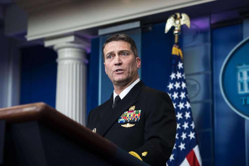 PHOTO: WASHINGTON, DC - JANUARY 16: White House physician Dr. Ronny Jackson speaks to reporters during the daily briefing in the Brady press briefing room at the White House in Washington, Jan. 16, 2018.