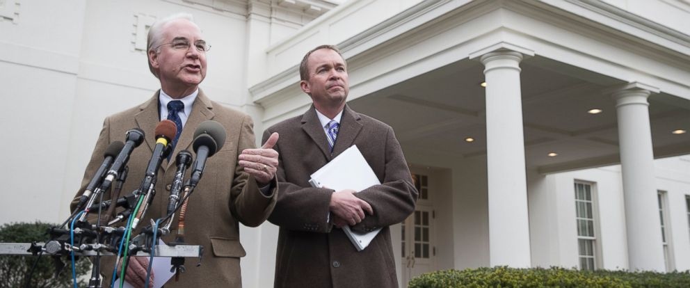 PHOTO: U.S. Secretary of Health and Human Services (HHS) Tom Price (L) and Director of the Office of Management and Budget (OMB) Mick Mulvaney (R) deliver remarks to members of the news media at the White House in Washington, on March 13, 2017.