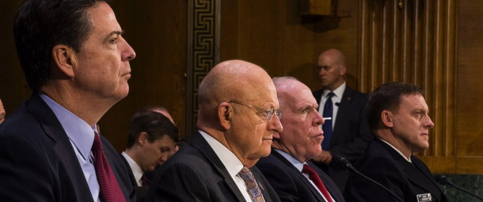 PHOTO: L to R; Dir. of FBI James Comey, Dir. of National Intelligence James Clapper, Dir. of CIA John Brennan, and Dir. of the NSA Michael Rogers sit before the Senate Intelligence Committee on Russian intelligence activities hearing, Jan.10, 2017.