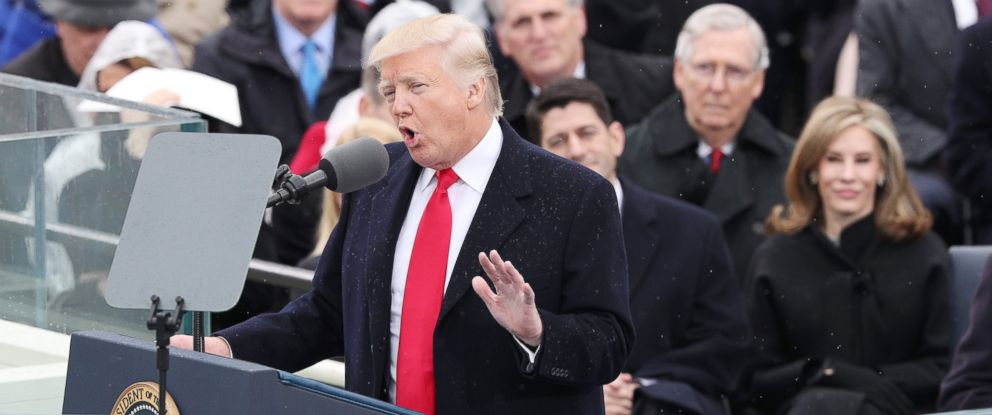 PHOTO: President-elect Donald J. Trump delivers his Inaugural address after taking the oath of office as the 45th President of the United States in Washington, D.C., Jan. 2017.