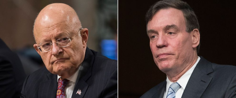 PHOTO: (L-R) Pictured are Director of National Intelligence James Clapper Jr., Jan. 5, 2017 and Sen. Mark Warner, May 11, 2017, in Washington, D.C.