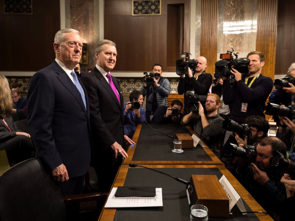 PHOTO: Retired United States Marine Corps general and Donald Trumps nominee for Secretary of Defense James Mattis, stands next to former Secretary of Defense William Cohen in Washington, Jan. 12, 2017.