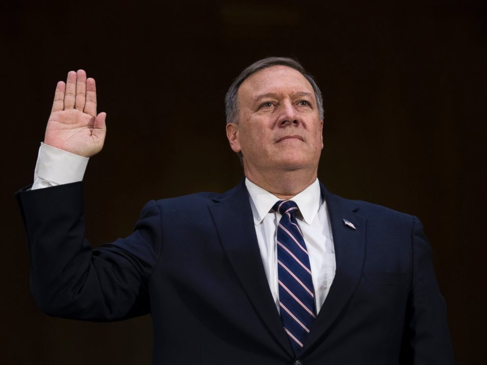 PHOTO: CIA Director nominee Congressman Michael Pompeo is sworn in prior to testifying during his confirmation hearing before Senate Intelligence Committee on Capitol Hill, Jan. 12, 2017.