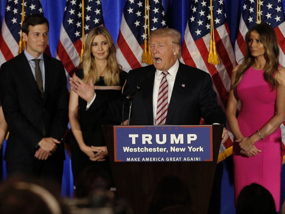 PHOTO: Republican U.S. presidential candidate Donald Trump speaks as his son-in-law Jared Kushner (L), daughter Ivanka (2nd from L) and his wife Melania (R) listen at a campaign event in Briarcliff Manor, New York, June 7, 2016.