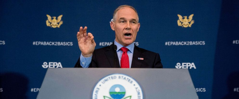Scott PruittEnvironmental Protection Agency Administrator Scott Pruitt speaks at a news conference at the Environmental Protection Agency in Washington, April 3, 2018.