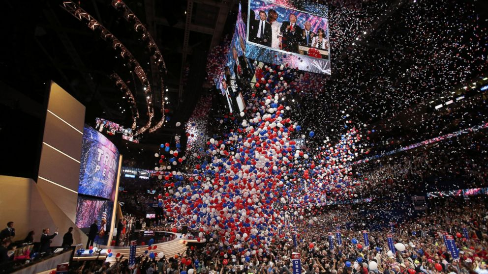 Republican presidential candidate Donald Trump and his family onstage after finishing his address during the final day of the 2016 Republican National Convention at Quicken Loans Arena in Cleveland, July 21, 2016.