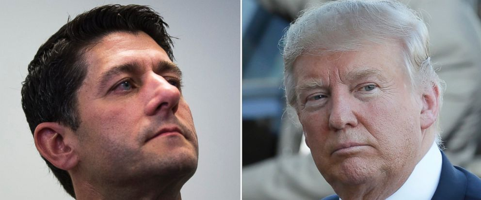 PHOTO: Republican Speaker of the House, Paul Ryan speaks to the media about his upcoming meeting with the Republican Partys presumptive presidential nominee Donald Trump, shown at right during a political rally May 6, 2016 in Omaha, Nebraska.