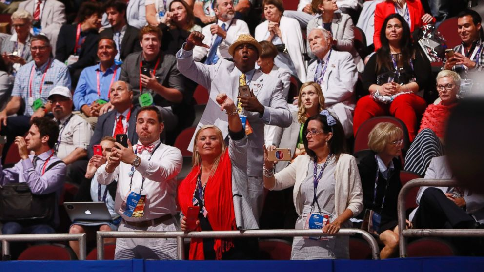 Alternates and guests react as Texas Senator and former Republican presidential hopeful Ted Cruz speaks during the third day of the 2016 Republican National Convention at Quicken Loans Arena in Cleveland, July 20, 2016.