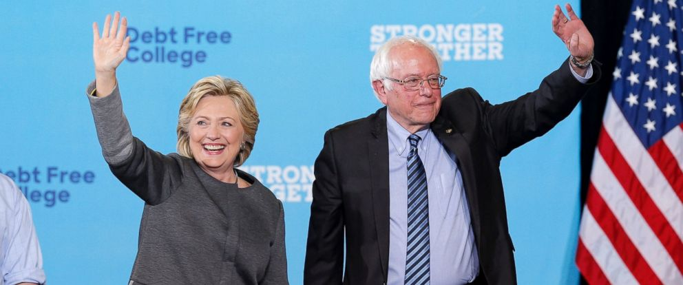PHOTO: Hillary Clinton and Senator Bernie Sanders appear at campaign at the University of New Hampshire in Durham, Sept. 28, 2016.