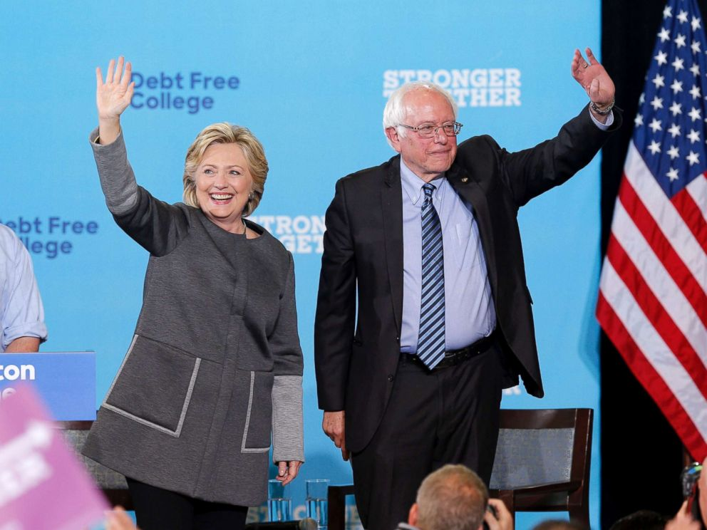 Hillary Clinton and Senator Bernie Sanders appear at campaign at the University of New Hampshire in Durham, Sept. 28, 2016.