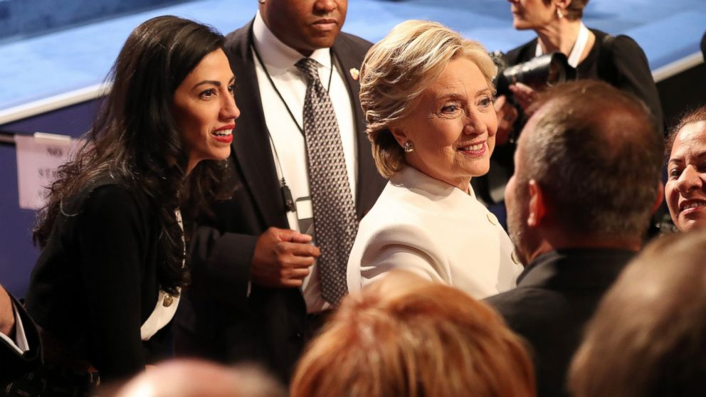 Democratic presidential candidate Hillary Clinton and Huma Abedin at the end of the final presidential debate at the University of Nevada-Las Vegas in Las Vegas, Oct. 19, 2016.