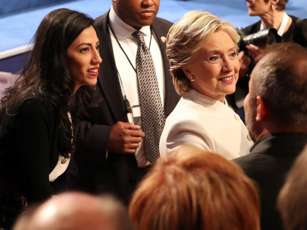 PHOTO: Democratic presidential candidate Hillary Clinton and Huma Abedin at the end of the final presidential debate at the University of Nevada-Las Vegas in Las Vegas, Oct. 19, 2016.