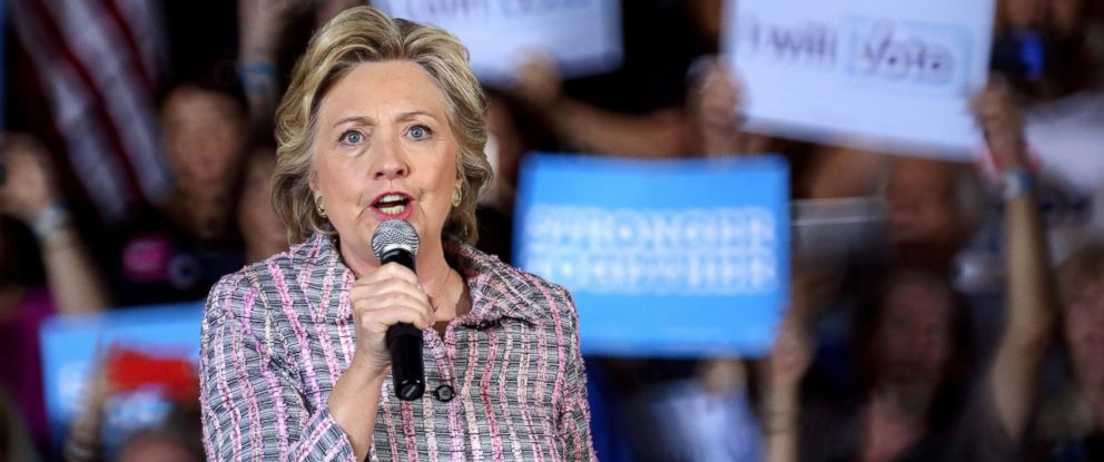 PHOTO: Democratic presidential candidate and former Secretary of State Hillary Clinton speaks during a presidential campaign event at Coral Spring Gymnasium in Coral Springs, Florida, Sept. 30, 2016.