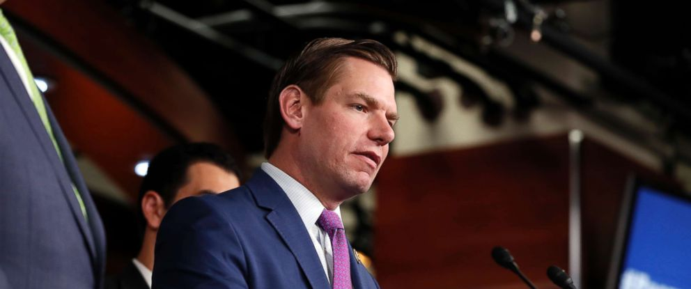 PHOTO: Rep. Eric Swalwell, D-Calif. speaks during a news conference on Capitol Hill in Washington, May 17, 2017.