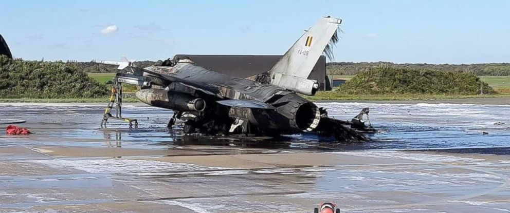 PHOTO: A Belgian Air Force F-16 was destroyed on October 11 after a mechanic working on another F-16 accidentally fired a cannon at it.