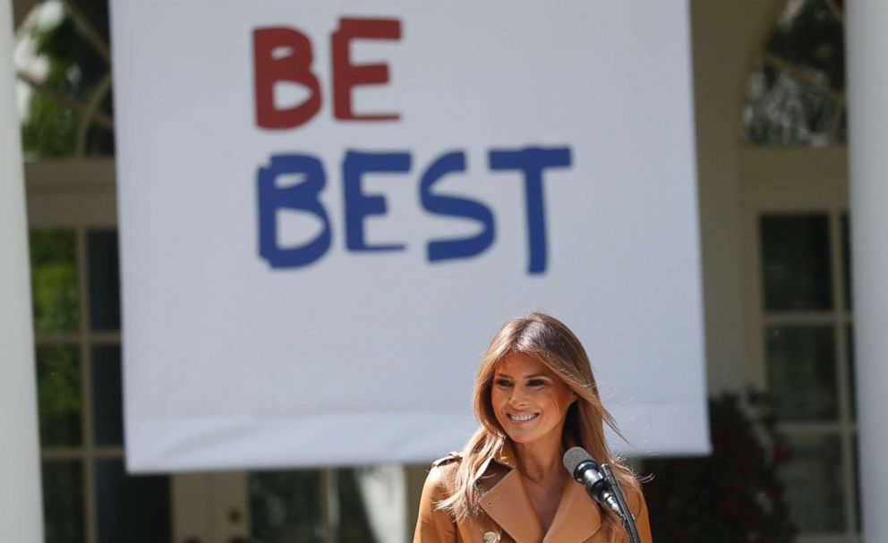"First lady Melania Trump announces the launch of her ""Be Best"" initiative in the Rose Garden at the White House in Washington, May 7, 2018."