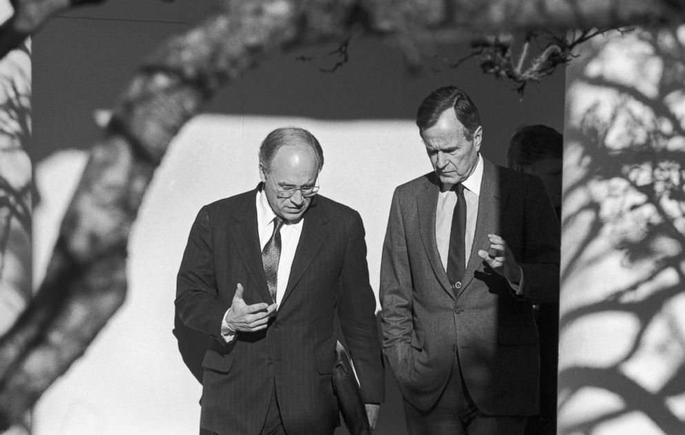 PHOTO: President George H.W. Bush and Secretary of Defense Dick Cheney discuss the run up to Operation Desert Storm as they walk near the Rose Garden at the White House, 1991.