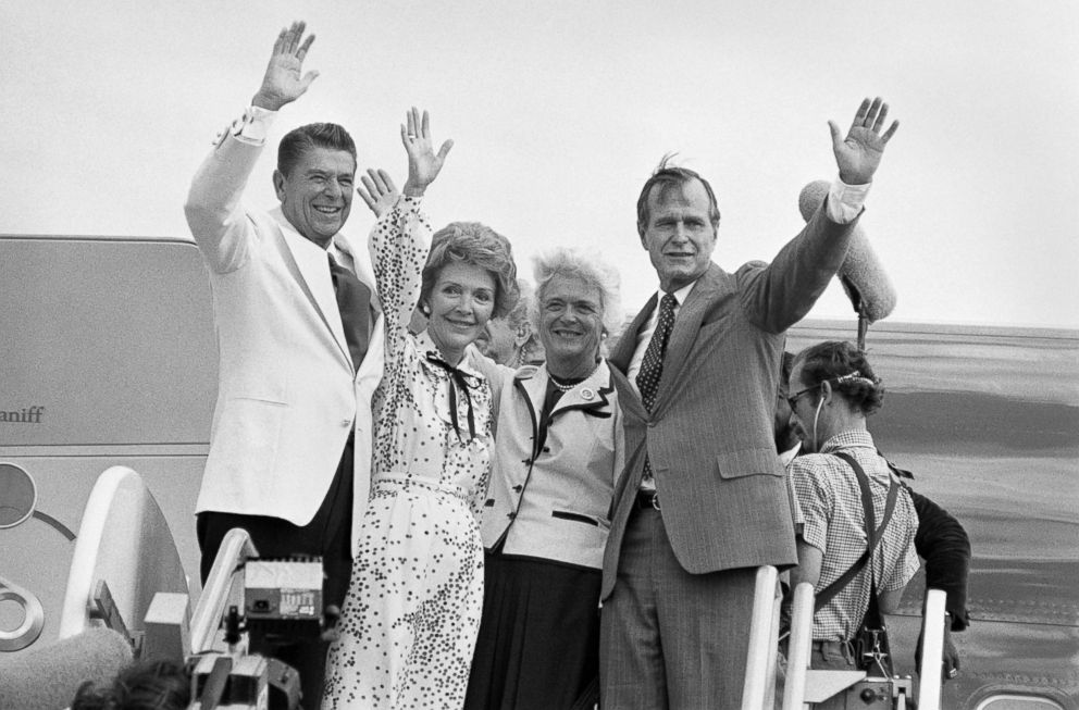 PHOTO: Republican presidential candidate Ronald Reagan, left, and vice presidential candidate George Bush wave goodbye along with their wives as they leave Detroit after the Republican National Convention, July 19, 1980.