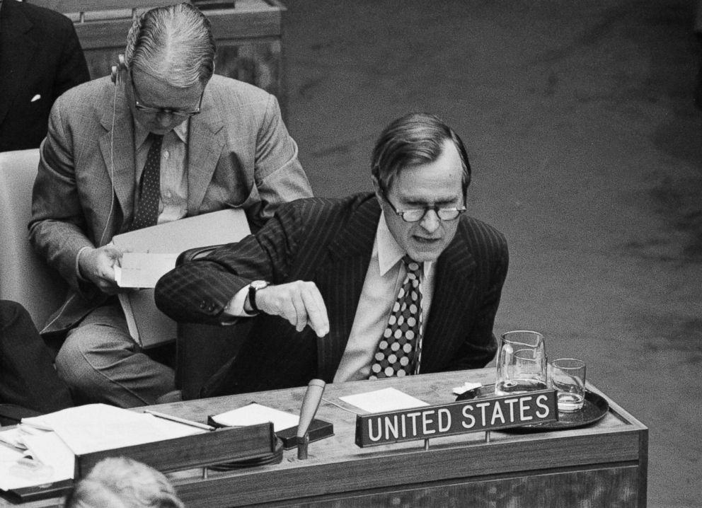 PHOTO: Amb. George Bush drives home a point during a meeting at the U.N. urging that the 25-nation steering committee recommend debate of global terrorism in the General Assembly, Sept. 22, 1972.