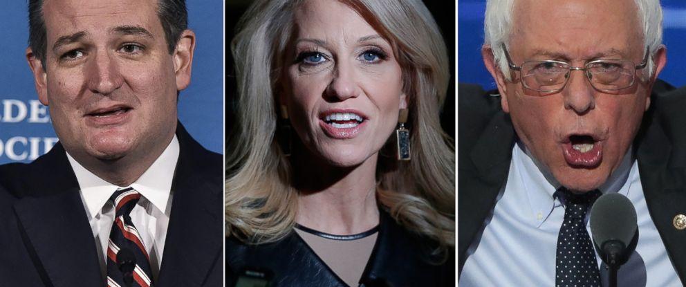 PHOTO: (L-R) Sen. Ted Cruz in Washington, Nov. 18, 2016, Kellyanne Conway in New York City, Nov. 21, 2016 and Bernie Sanders in Philadelphia, July 25, 2016.