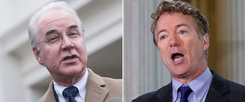PHOTO: (L-R) Pictured are Health and Human Services Secretary Tom Price in Washington, March 13, 2017 and Sen. Rand Paul in Washington, March 7, 2017.
