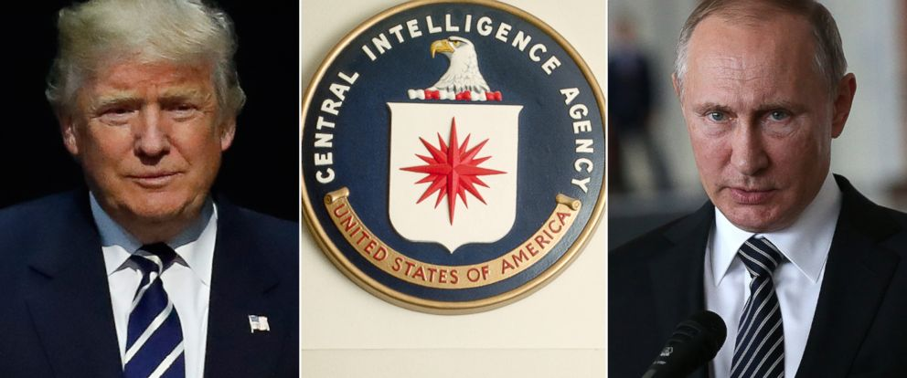 PHOTO: Pictured (L-R) are President-elect Donald Trump, the seal of the Central Intelligence Agency above a sign for the C.I.A.s Operations Center in Virginia and Russian President Vladimir Putin.