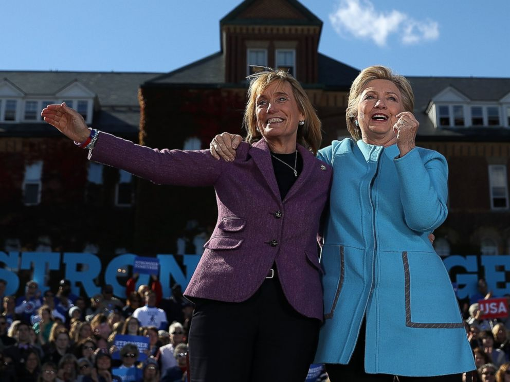 PHOTO: Democratic presidential nominee Hillary Clinton and New Hampshire Gov. Maggie Hassan look on during a campaign rally at Saint Anselm College on Oct. 24, 2016 in Manchester, New Hampshire.