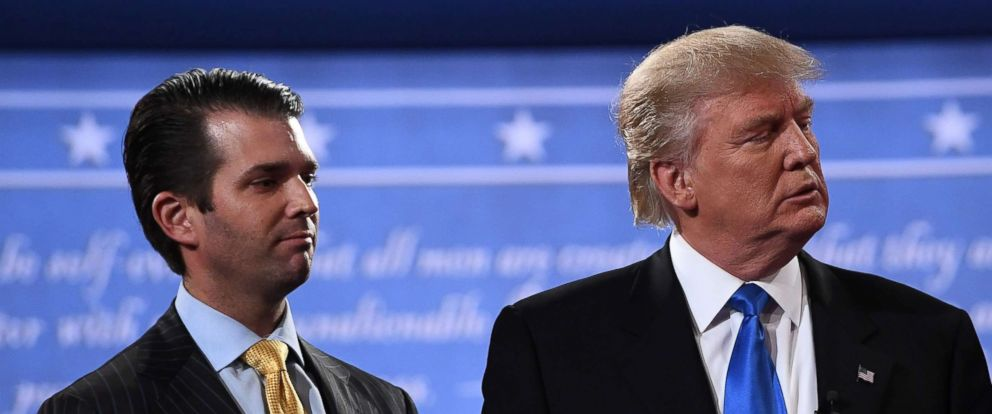 PHOTO: Donald Trump, right, standing with his son Donald Trump Jr. after the first presidential debate at Hofstra University in Hempstead, N.Y., July 10, 2017.