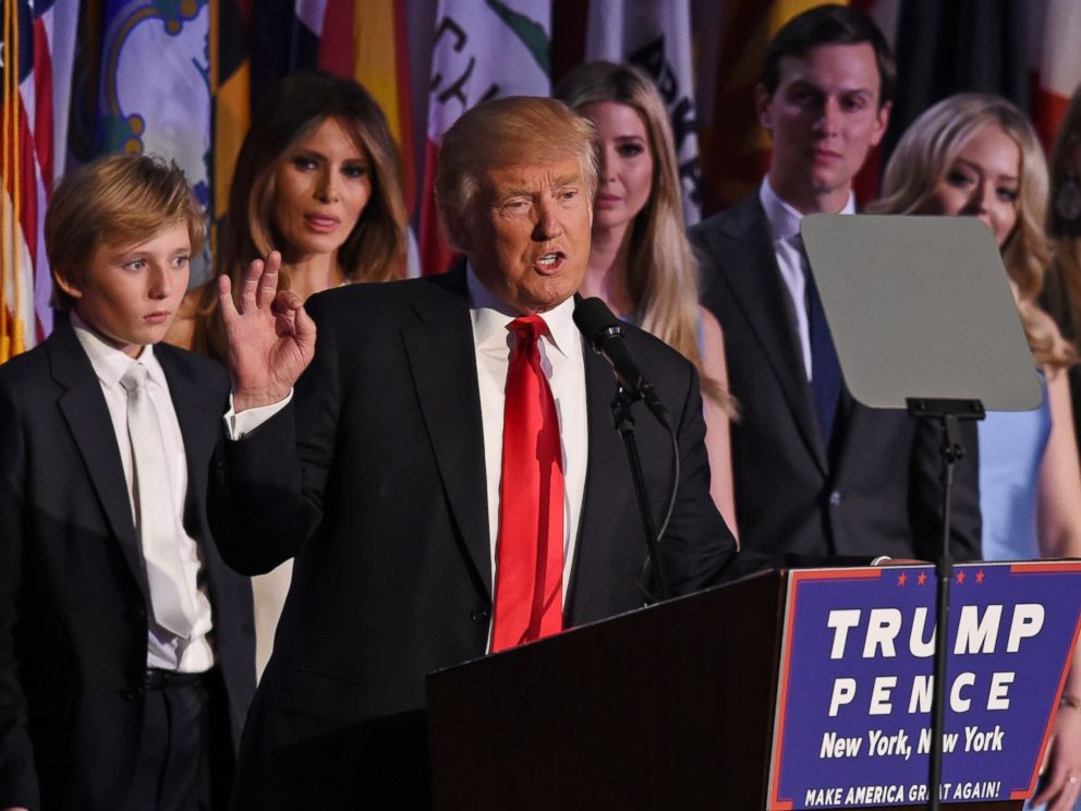 PHOTO: Republican presidential nominee Donald Trump arrives on stage with his family to speak to supporters during election night at the New York Hilton Midtown in New York on Nov. 9, 2016.