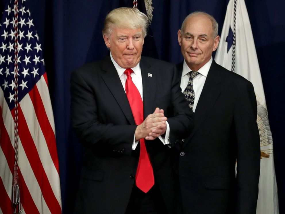 PHOTO: President Donald Trump is joined by Homeland Security Secretary John Kelly, right, during a visit to the Department of Homeland Security January 25, 2017 in Washington, DC.