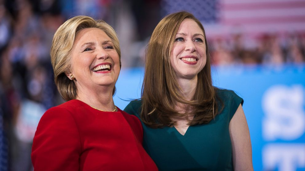 Democratic presidential nominee Hillary Clinton with her daughter Chelsea Clinton at a rally, Nov. 8, 2016, in Raleigh, N.C.