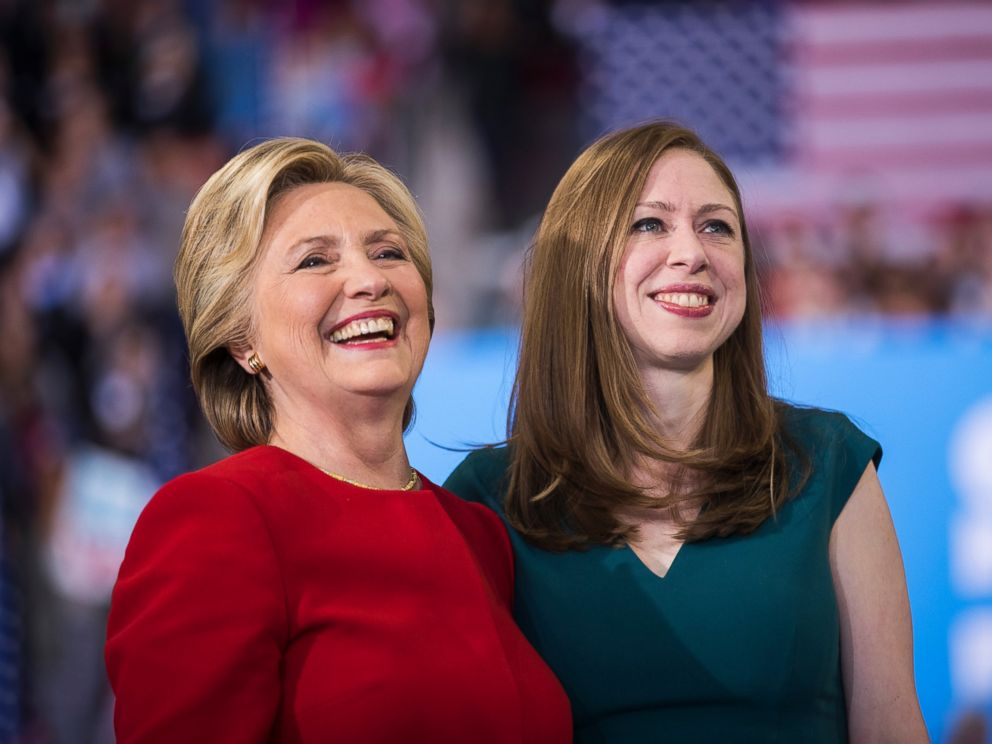PHOTO: Democratic presidential nominee Hillary Clinton with her daughter Chelsea Clinton at a rally, Nov. 8, 2016, in Raleigh, N.C.