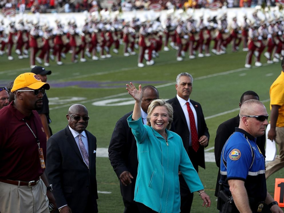 PHOTO: Democratic presidential nominee former Secretary of State Hillary Clinton greets attendees during a tailgate party at Bethune-Cookman University on Oct. 29, 2016 in Daytona Beach, Florida.