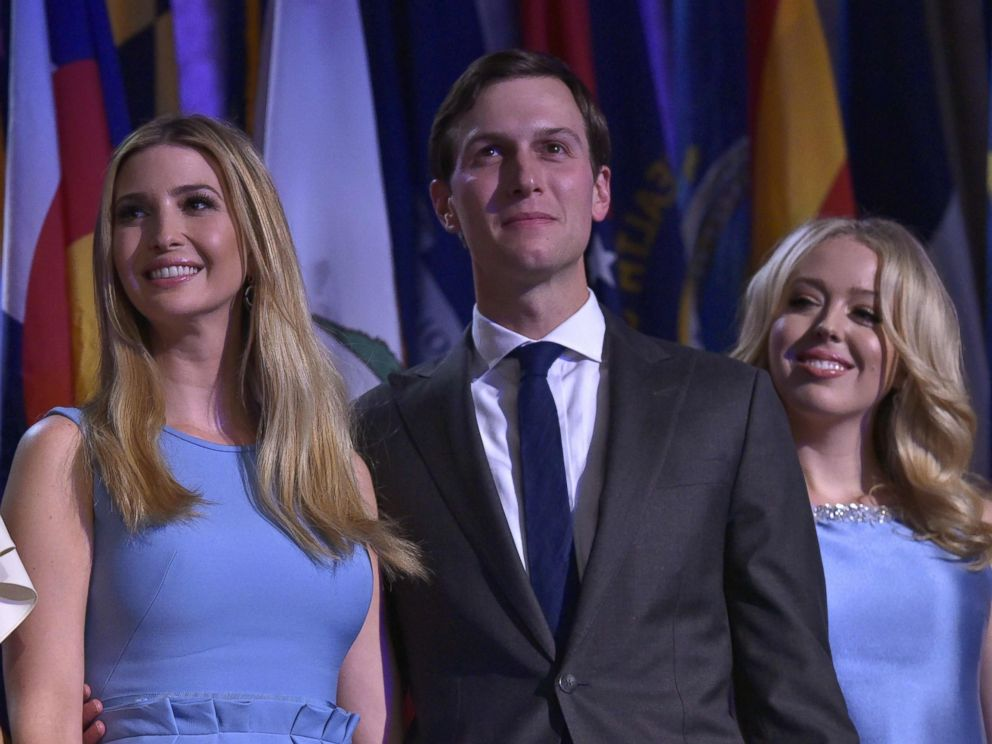 PHOTO: Ivanka Trump, her husband Jared Kushner and Tiffany Trump smile as Republican presidential elect Donald Trump speaks during election night at the New York Hilton Midtown in New York City, Nov. 9, 2016.