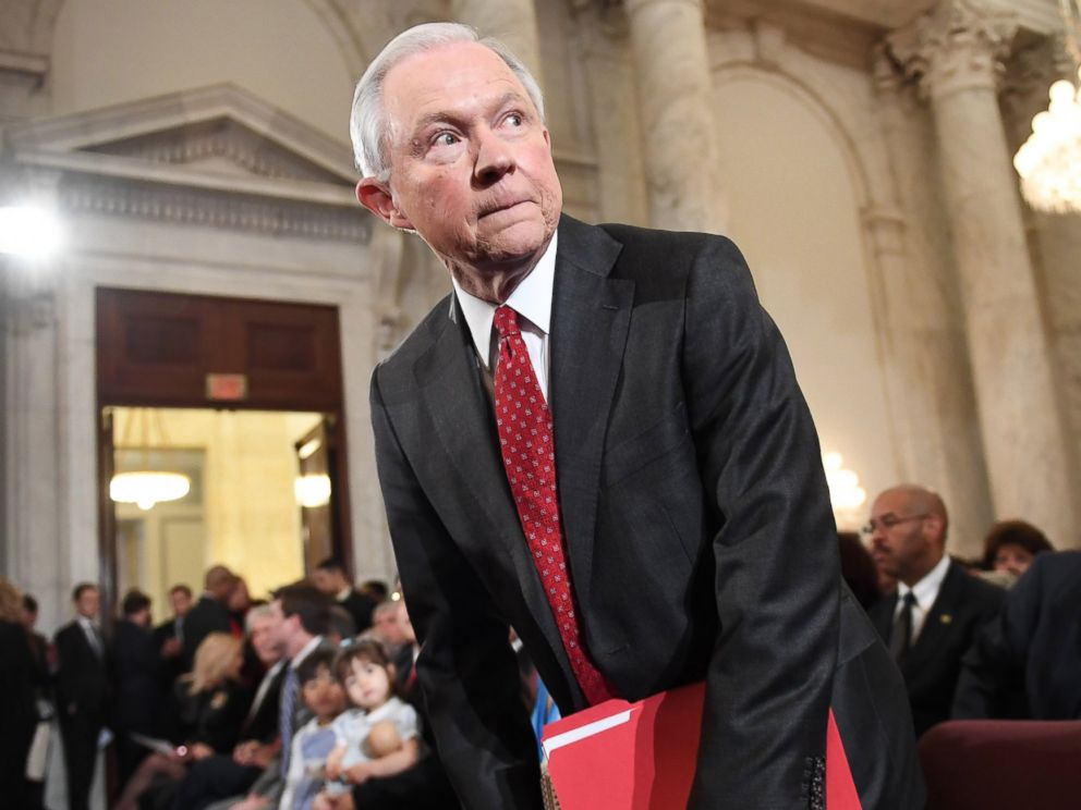 PHOTO: Senator Jeff Sessions (R-AL) is seen before his Attorney General confirmation hearing at the Russell Senate Office Building, Jan. 10, 2017, in Washington, DC.