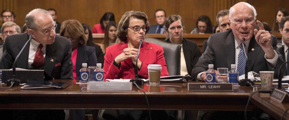 PHOTO: Judiciary Committee Chairman Chuck Grassley, and Ranking Member Sen. Dianne Feinstein listen as Sen. Patrick Leahy (R), D-Vermont, speaks during a mark-up meeting on the nomination of US Senator Jeff Sessions to be the Attorney General.
