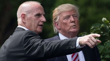 PHOTO: President Donald Trump listens to Director of Oval Office Operations Keith Schiller at the White House on June 12, 2017.