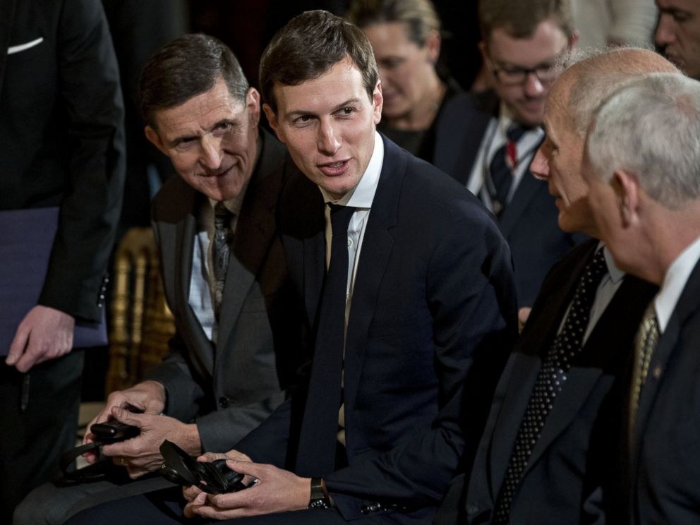 PHOTO: General Michael Flynn, U.S. national security advisor, from left, and Jared Kushner, senior White House adviser, speak with John Kelly, secretary of U.S. Homeland Security, and U.S. Vice President Mike Pence, in Washington, on Feb. 13, 2017.